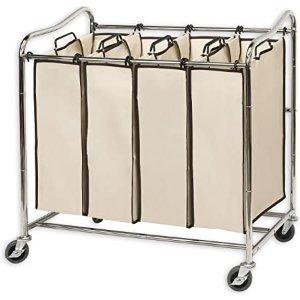 Simplehouseware 4格带滚轮洗衣袋