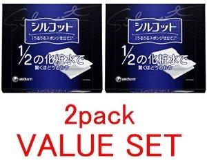 Unicharm Silcot Uruuru Sponge Facial Cotton, 1.8 Ounce(40 Sheets) X 2 Pack Value Set