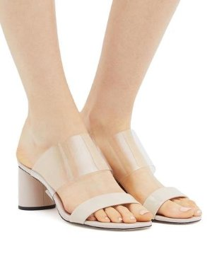 ZEELY - CYLINDER HEEL VINYL STRAP SANDALS | SANDALS | All Shoes | Pedder Red