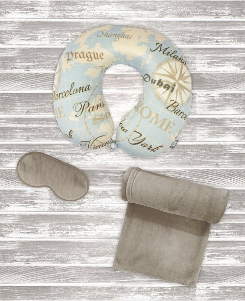 Bon Voyage 3-PC Travel Pillow, Blanket, Eye Mask Comfort Kit & Reviews - Travel Accessories - Luggage - Macy's 旅行用品三件套只要$9.99