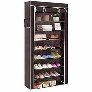 Amazon.com: SONGMICS 10 Tiers Shoe Rack with Dustproof Cover Closet Shoe Storage Cabinet Organizer Grey URXJ36G: Home & Kitchen