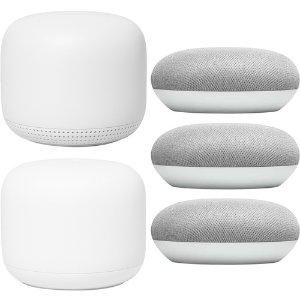 $269 包邮Google Nest WiFi 无线路由器 2只装 + 3个 Home Mini