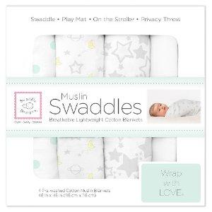 SwaddleDesigns® Cotton Muslin Swaddle Blankets - Goodnight Starshine - 4pk - Sterling Gray : Target