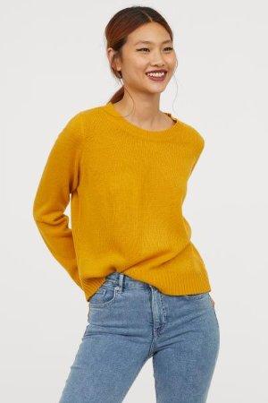 Knit Sweater - Mustard yellow - Ladies | H&M US