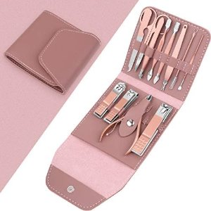 Teamkio 12PCS Manicure Set for Women, Stainless Steel Pink Nail Care Kit, Nail Grooming Kit with Leather Storage Case