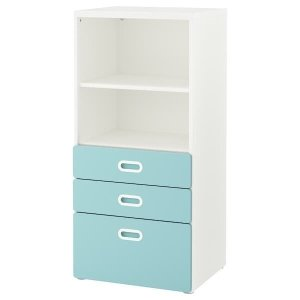 STUVA / FRITIDS Bookcase with drawers - white, light blue - IKEA