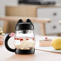 BZY1 14oz 猫咪玻璃水杯 带茶滤