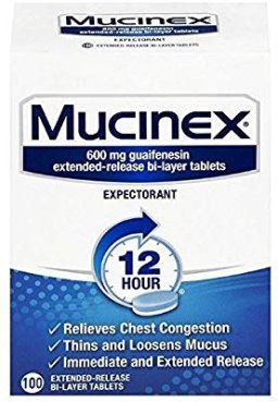 Amazon.com: Mucinex 12 Hour Chest Congestion Expectorant, Tablets, 100ct, 600 mg Guaifenesin with Extended Relief: Health & Personal Care