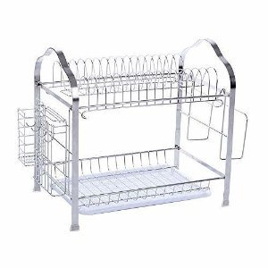 Amazon.com: NEX Dish Drainer 304 Stainless Steel Kitchen 2-Tier Dish Rack with Utensil Holder: Kitchen & Dining