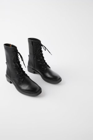 FLAT LEATHER ANKLE BOOTS-Must have-SHOES-WOMAN | ZARA United States