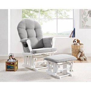 Angel Line Windsor Glider and Ottoman White Finish and Gray Cushions - Walmart.com