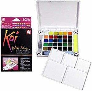 Amazon.com: Sakura XNCW-30N Koi Field 30 Assorted Watercolors with Brush Sketch Set