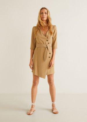 Buttoned wrap dress - Women | Mango USA