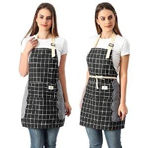 Koorhiere 棉麻可调节大小围裙2件套