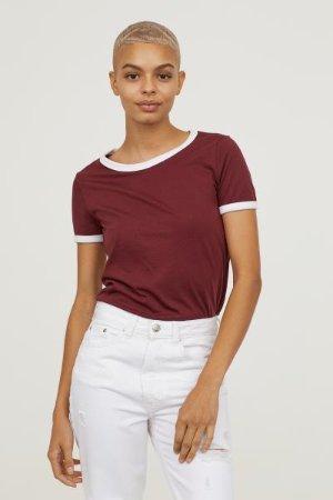Short T-shirt - Burgundy - Ladies | H&M US