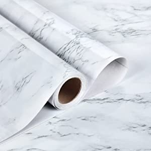 "Caltero 白色大理石墙纸 17.7"" x 78.7"""