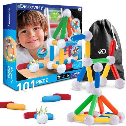 Discovery Kids 101-Piece Best Magnetic Tile Building Blocks Kit, Includes Storage Bag