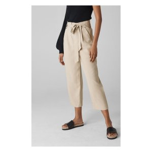 Neutral Paper Bag Belted Trouser | WHISTLES