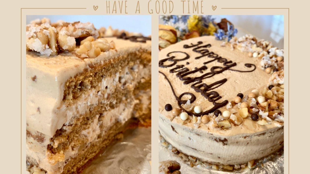 手作生日蛋糕|咖啡核桃奶油蛋糕☕️☕️☕️食谱大公开