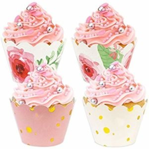 Amazon.com: BAKHUK 54pcs Floral Cupcake Wrappers in 6 Patterns, Adjustable Double Side Wrapper for Wedding, Birthday, Baby Girl Shower Decoration, Pink and Gold Party Supplies: Health & Personal Care