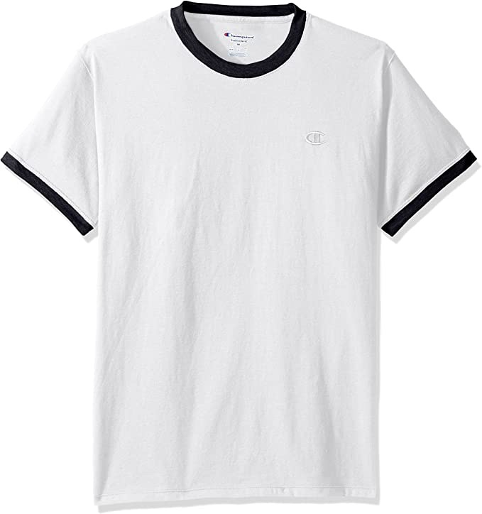 Champion 男士T恤Men's Classic Jersey Ringer Tee, White/Navy, S: Clothing