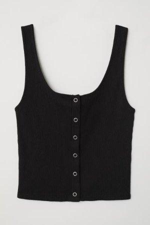 Tank Top with Snap Fasteners - Black - Ladies | H&M US