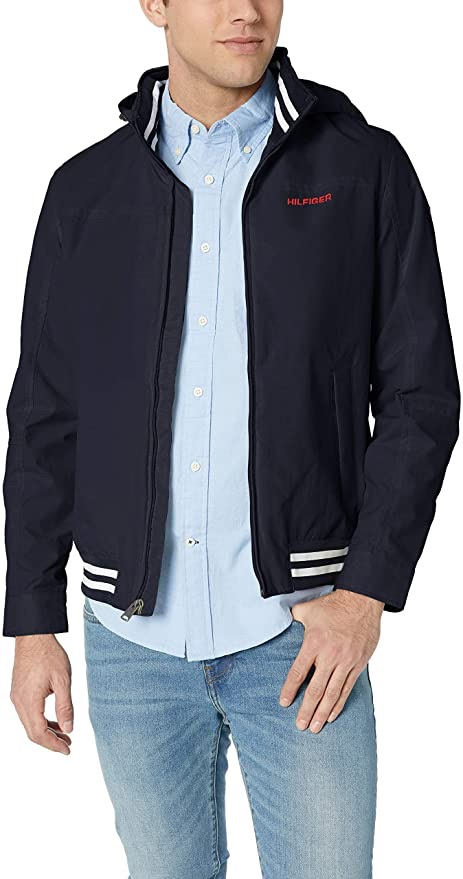 Tommy Hilfiger 男士防水夹克Men's Lightweight Waterproof Regatta Jacket, Sailor Navy, Medium at Amazon Men's Clothing store