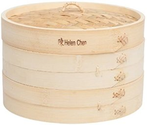 Amazon.com: Helen's Asian Kitchen 97009 Food Steamer with Lid, 10-Inch, Natural Bamboo: Bmboo Steamer: Kitchen & Dining