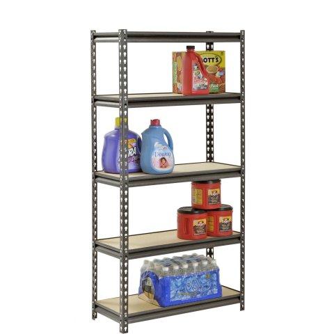 Muscle Rack 5-Shelf Steel Shelving, Silver-Vein, 12