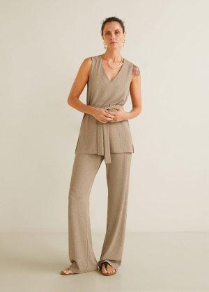 Straight textured trousers - Women | Mango USA