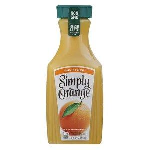 2瓶仅$3.35Simply 无果肉橙汁52oz大瓶装