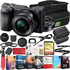 Amazon.com : Sony ILCE-6400L a6400 Mirrorless APS-C Interchangeable-Lens Camera with 16-50mm Lens Bundle with 64GB Memory Card, Photo and Video Editing Suite, Camera Bag, 40.5mm Filter Kit and Camera Battery : Camera & Photo