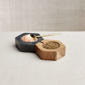 Hayes Marble and Wood Salt and Pepper Set + Reviews | Crate and Barrel