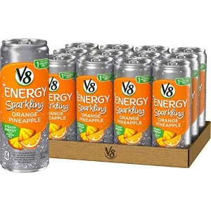 $8.10V8 +Energy, Sparkling Juice Drink with Green Tea, Orange Pineapple, 12 oz. Can (Pack of 12)