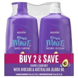 $9.82Walmart Aussie Miracle Moist with Avocado & Jojoba Oil, Paraben Free Shampoo & Conditioner Dual Pack