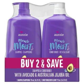 每瓶仅$4.9Aussie Miracle 大容量滋润洗发水护发素套装