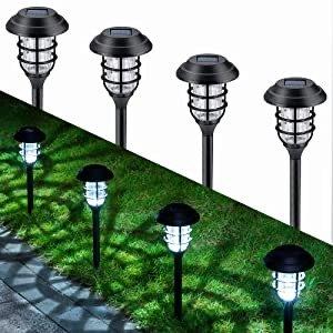 GIGALUMI 8 Pcs Solar Lights Outdoor Pathway