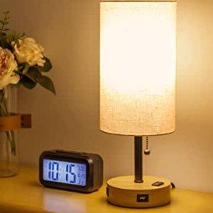YUESUO 带USB充电口床头灯+数字闹钟