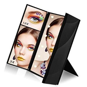 Makeup Mirror, Sanvaree Portable Vanity Mirror with Lights, Led Lighted Travel Mirror, Cosmetic Mirror with 12 Led Lights and 1X/2X/3X/10X Magnifying (Black)