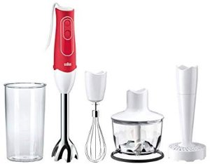 Amazon.com: Braun MQ537R MultiQuick 5 Immersion Hand Blender Patented Technology - Powerful 350 Watt - Dual Speed - Includes Beaker, Whisk, 2-Cup Chopper, Masher, 536, Red: Kitchen & Dining
