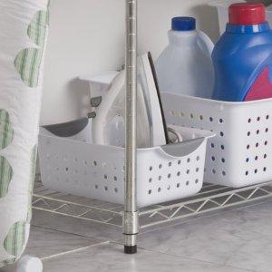 Sterilite Small Ultra Plastic Storage Bin Organizer Basket, White (Case of 12)
