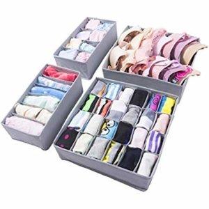 Amazon.com: Simple Houseware Closet Underwear Organizer Drawer Divider 4 Set, Gray