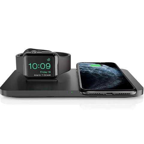 Seneo 2 in 1 Dual Wireless Charging Pad with Watch Stand