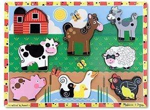 "Amazon.com: Melissa & Doug Farm Chunky Puzzle, Preschool, Chunky Wooden Pieces, Full-Color Pictures, 8 Pieces, 1"" H x 9"" W x 12"" L: Melissa & Doug: Toys & Games"