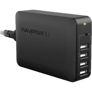 RAVPower 60W 5口 USB-A USB-C PD 充电适配器