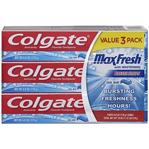 Colgate Max Fresh Toothpaste With Mini Breath Strips, Cool Mint, 3 Count