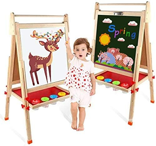 EAQ 三合一儿童木质双面画板,高度可调带磁性