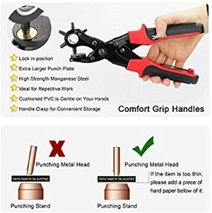 Revolving Punch Plier Kit, Punch Hole Tool including Punch Plier, Brass Pad, Screwdriver and Grinding Rod for Belt, Saddle, Watch Strap, Shoe, Fabric, Paper, etc - - Amazon.com