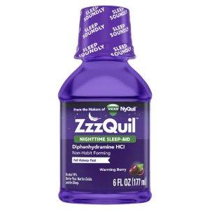 $4.97(原价$6.02)Vicks ZzzQuil 夜间睡眠助剂液 浆果味 6盎司