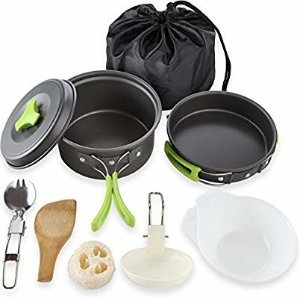 Amazon.com : 1 Liter Camping Cookware Mess Kit Backpacking Gear & Hiking Outdoors Bug Out Bag Cooking Equipment 10 Piece Cookset   Lightweight, Compact, & Durable Pot Pan Bowls - Free Folding Spork, Nylon Bag : Sports & Outdoors